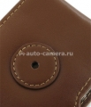 Кожаный чехол для iPhone 4 и 4S Pdair Flip Type Snap Button, цвет brown (3TIPP4F41)