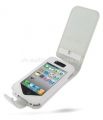 Кожаный чехол для iPhone 4 и 4S Pdair Flip Type Snap Button, цвет white (3RIPP4F41)