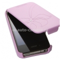 Кожаный чехол для iPhone 4/4S SGP Leather Case Valencia Swarovski Series, Pink (SGP06883)
