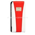 Кожаный чехол для iPhone 5 / 5S Aston Martin Racing flip, цвет white/red (RAFCIPH5023D)