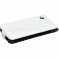 Кожаный чехол для iPhone 5 / 5S BMW Logo Signature Flip, цвет White (BMFLP5LOW)