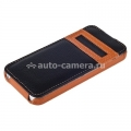 Кожаный чехол для iPhone 5 / 5S Melkco Jacka ID Light Type (Orange/Black LC)