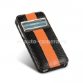 Кожаный чехол для iPhone 5 / 5S Melkco Jacka ID Type Limited Edition (Black/Orange LC)