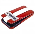 Кожаный чехол для iPhone 5 / 5S Melkco Jacka ID Type Limited Edition, цвет Red/White LC