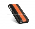 Кожаный чехол для iPhone 5 / 5S Melkco Premium Limited Edition Jacka Type, цвет black/orange