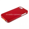 Кожаный чехол для iPhone 5 / 5S Melkco Premium Limited Edition Jacka Type, цвет Red/Yellow LC