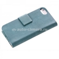 Кожаный чехол для iPhone 5 / 5S Vetti Lusso Case Book Type, цвет vintage lake blue (IPO5LBNS120201)