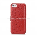 Кожаный чехол для iPhone 5C Melkco Leather Case Booka Type Ostrich Print pattern, цвет Red