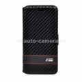 Кожаный чехол-книжка для iPhone 6 BMW M-Collection Booktype Carbon, цвет Black (BMFLBKP6MCC)