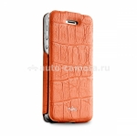 "Чехол для iPhone 5 / 5S PURO Eco-Leather ""Crocodile"" w/vertical Flip, цвет coral (IPC5CROCOCOR)"