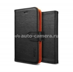 Чехол для iPhone 5 / 5S SGP Leather Case illuzion Series, цвет mandarine black (SGP09527)