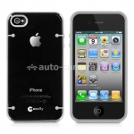 Чехол на заднюю крышку для iPhone 4 и 4S Macally Protective glo in the dark case, цвет black (GLODARKC-P4S) (GLODARKC-P4S)