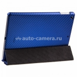 Кожаный чехол для iPad Air Melkco Leather Case Slimme Cover Ver.1, цвет Carbon Fiber Pattern Blue