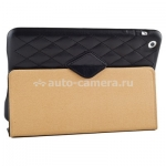 Кожаный чехол для iPad mini и iPad mini 2 (retina) Jisoncase со стеганым узором, цвет Black (JS-IM-002DB)