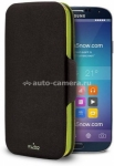 Кожаный чехол для Samsung Galaxy S5 PURO Eco-Leather cover bi-color wallet, цвет Black/Green (SGS5WALLETBLK2)