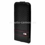 Кожаный чехол для iPhone 6 BMW M-Collection Flip Carbon, цвет Black (BMFLP6MCC)