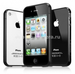 Бампер для iPhone 4 и 4S SGP Linear EX Color Series, цвет черный (SGP08372)