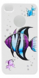 Чехол для iPhone 4/4S iCover Tropical Fish, цвет White/Purple (IP4-HP/W-TF/PP)