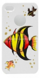 Чехол для iPhone 4/4S iCover Tropical Fish, цвет White/Red (IP4-HP/W-TF/R)