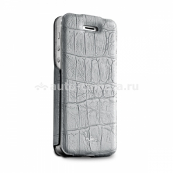 "Чехол для iPhone 5 / 5S PURO Eco-Leather ""Crocodile"" w/vertical Flip, цвет grey (IPC5CROCOGREY)"