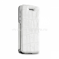 "Чехол для iPhone 5 / 5S PURO Eco-Leather ""Crocodile"" w/vertical Flip, цвет white (IPC5CROCOWHI)"