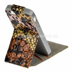 Чехол для iPhone 5C Melkco Kooso Koka Flip case Sauvage collection, цвет Orange snake