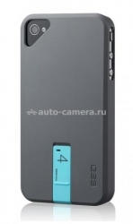 Чехол на заднюю крышку iPhone 4 и 4S Ego Hybrid Body 4GB, цвет gray/blue (HSU1EK002)