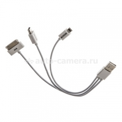 Кабель для iPad, iPhone, iPod, Samsung и HTC USB to micro-USB/mini-USB/30pin 4 в 1, цвет белый