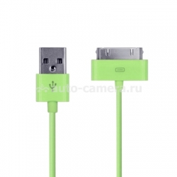 Кабель для iPod, iPhone и iPad USB Cable to 30 pin, цвет зеленый