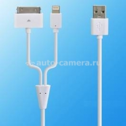 Кабель для iPod, iPhone, iPad и iPad mini Henca 2 IN 1 USB Cable, цвет белый (LC42-II)