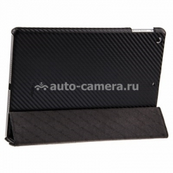 Кожаный чехол для iPad Air Melkco Leather Case Slimme Cover Ver.1, цвет Carbon Fiber Pattern Black