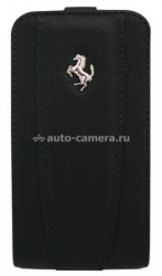Кожаный чехол для iPhone 4/4S Ferrari Flip, Black (FEFLIP4B)