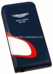 Кожаный чехол для iPhone 5 / 5S Aston Martin Racing flip case with car mouth, цвет blue/white (SMFCIP5D062)