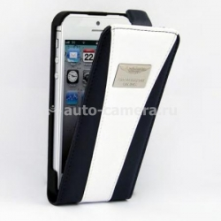Кожаный чехол для iPhone 5 / 5S Aston Martin Racing flip, цвет blue/white (RAFCIPH5062D)
