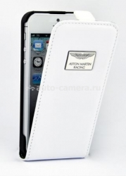 Кожаный чехол для iPhone 5 / 5S Aston Martin Racing Leather Flip Case, цвет White (FCIPH5001B)