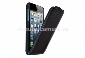 Кожаный чехол для iPhone 5 / 5S Beyzacases Nova series Flip, цвет Black/Green (BZ25404)