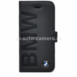 Кожаный чехол для iPhone 5 / 5S BMW Logo Signature Booktype, цвет Black (BMFLBKP5LOB)
