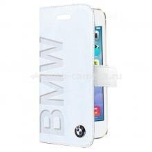 Кожаный чехол для iPhone 5 / 5S BMW Logo Signature Booktype, цвет White (BMFLBKP5LOW)