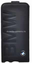 Кожаный чехол для iPhone 5 / 5S BMW Logo Signature Flip, цвет Black (BMFLP5LOB)