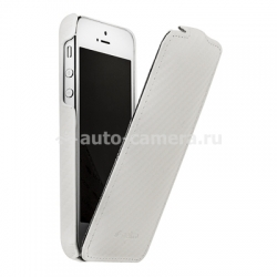 Кожаный чехол для iPhone 5 / 5S Melkco Premium Leather Case - Jacka Type, цвет Carbon Fiber Pattern - White