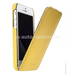 Кожаный чехол для iPhone 5 / 5S Melkco Premium Leather Case - Jacka Type, цвет Yellow LC