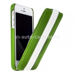 Кожаный чехол для iPhone 5 / 5S Melkco Premium Limited Edition Jacka Type, цвет Green/White LC