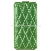 Кожаный чехол для iPhone 5 / 5S Vetti Craft Slimflip Diamond Series, цвет green lychee (IPO5SFDS110105)