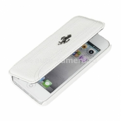 Кожаный чехол для iPhone 5C Ferrari FF-Collection Booktype, цвет White (FEFFFLBKPMWH)
