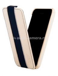 Кожаный чехол для iPhone 5C Melkco Premium Limited Edition Jacka Type, цвет White/ Dark Blue