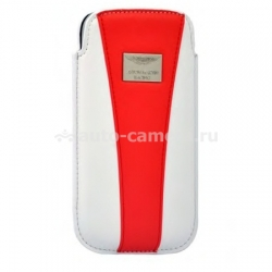 Кожаный чехол для Samsung Galaxy S3 (i9300) Aston Martin Racing chic, цвет white/red (RACCISAMI9300023D)