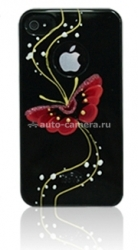 Пластиковый чехол для iPhone 4/4S iCover Butterfly, цвет Gold Line Black (IP4-HP-BG/BK)