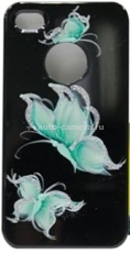 Пластиковый чехол для iPhone 4/4S iCover Pure Butterfly, цвет Black/Sky Blue (IP4-HP/BK-PB/SB)