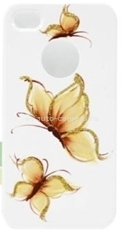 Пластиковый чехол для iPhone 4/4S iCover Pure Butterfly, цвет White/Gold (IP4-HP/W-PB/G)
