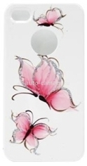 Пластиковый чехол для iPhone 4/4S iCover Pure Butterfly, цвет White/Pink (IP4-HP/W-PB/P)